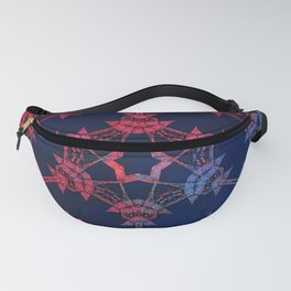Blue and red glow tribal mandala Fanny Pack