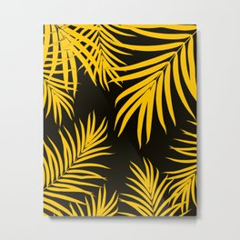 Palm Leaves Pattern Yellow Vibes #1 #tropical #decor #art #society6 Metal Print