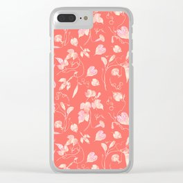 Elegant Vine and Leaves Pattern Living Coral Clear iPhone Case