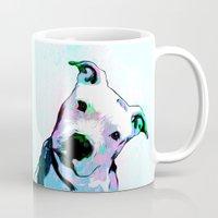 pit bull Mugs featuring Pit bull - Puzzled - Pop Art by William Cuccio aka WCSmack