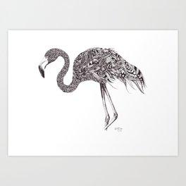 Zentangle Flamingo Art Print