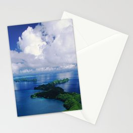 View To Eternity: Paradise Island With Tropical Clouds Stationery Cards