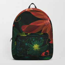 Beautiful Shining Red-Green Fractal Passion Flower Backpack