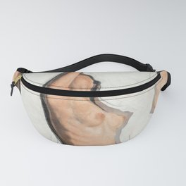 Sarah Nude Minimalist Woman Pink and White Fanny Pack