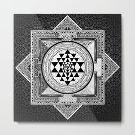 Sri Yantra Black & White Sacred Geometry Mandala Metal Print