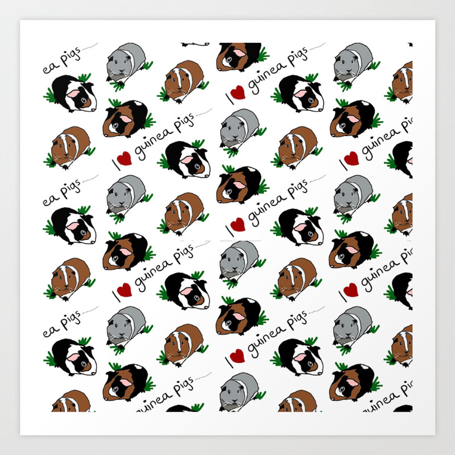 I Love Guinea Pigs Art Print By Upcyclepatch Society6