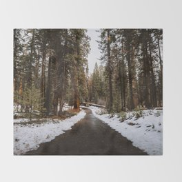 Tunnel Log Road in Sequoia II Throw Blanket