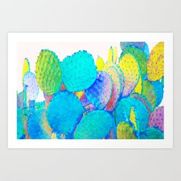 Holograph Cactus #digitalart #nature Art Print