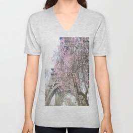 Paris in Springtime with the Eiffel Tower Unisex V-Neck