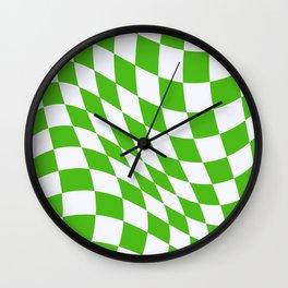 Warped Check - Kelly Green  Wall Clock
