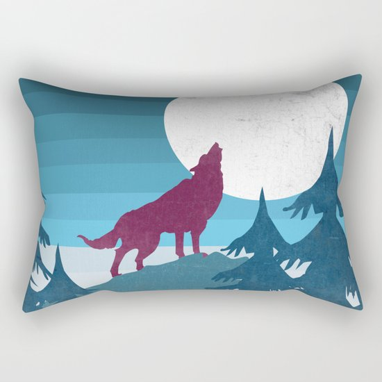 Wolf in the woods Rectangular Pillow