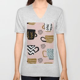 Seamless pattern with cups of coffee Unisex V-Neck