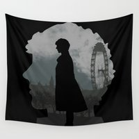 sherlock holmes Wall Tapestries featuring Sherlock Holmes world by BomDesignz