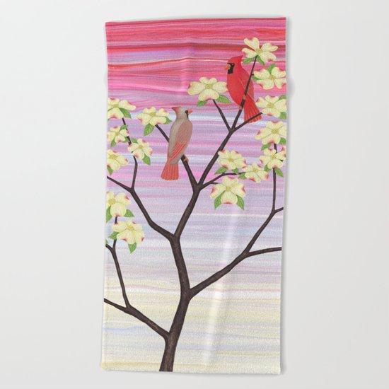 cardinals and dogwood blossoms Beach Towel