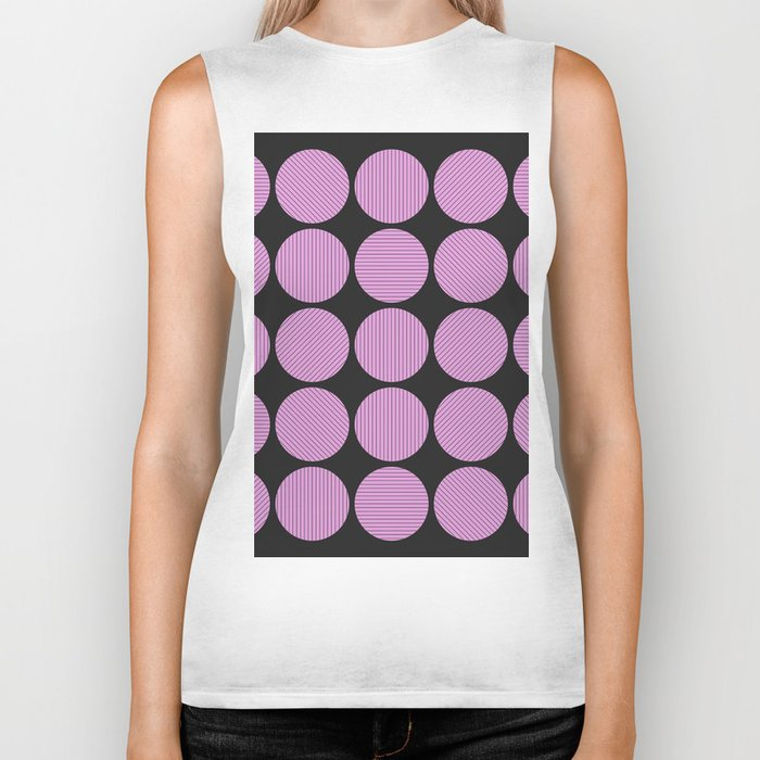 Pastel Pink Geometry (Abstract design in pink and charcoal) Biker Tank