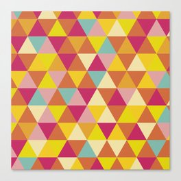Orange yellow pink geometrical abstract triangles Canvas Print