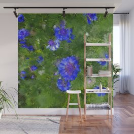 Summer Green Meadow and Blue Flowers Wall Mural