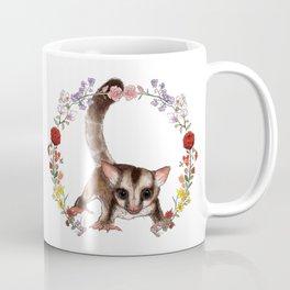 Sugar Glider in Flower Wreath Coffee Mug