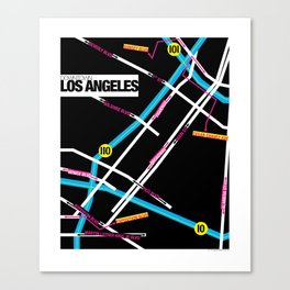 Downtown Los Angeles Map Canvas Print