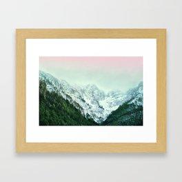 Snowy Winter Mountain Landscape with Alpenglow Framed Art Print