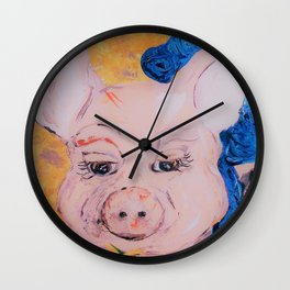Blue Ribbon Pig Wall Clock