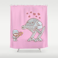 robocop Shower Curtains featuring Robocop in Love by 100% Soft