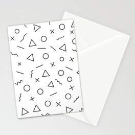 Memphis Geometry ((black on white)) Stationery Cards