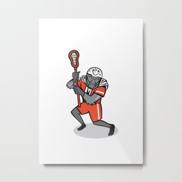 Gorilla Lacrosse Player Cartoon Metal Print