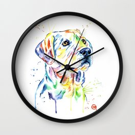 Yellow Lab Colorful Watercolor Painting - Puppy Star Wall Clock