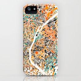 Paris mosaic map #3 iPhone Case