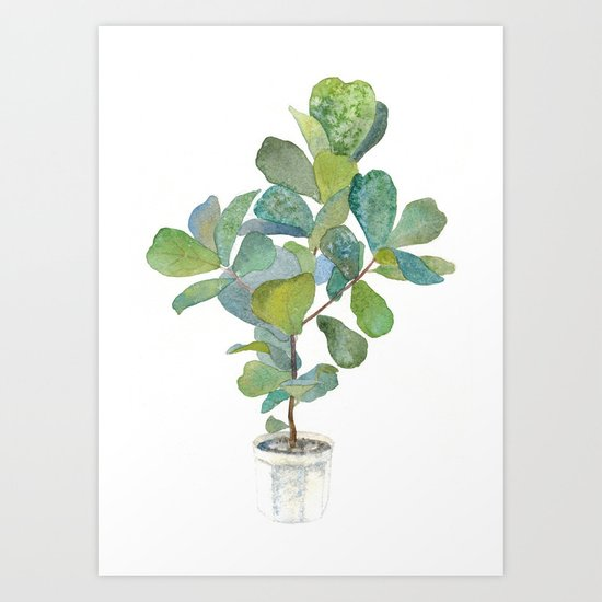 fiddle leaf fig tree art print by lunta society6