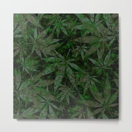 Weed leaves pattern Metal Print