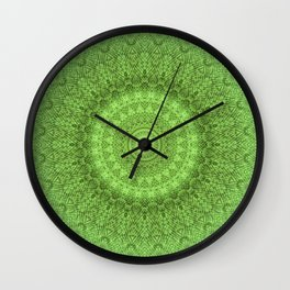 Sunflower Feather Bohemian Leaf Pattern \\ Aesthetic Vintage \\ Green Teal Aqua Color Scheme Wall Clock