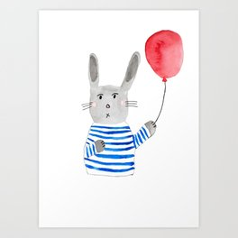 Bunny holding a red balloon Art Print