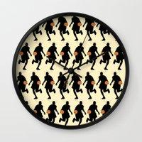 basketball Wall Clocks featuring Basketball by superdumb