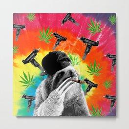 sloth gangsta gangster Dope Weed Metal Print