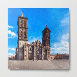 Beautiful Spanish Baroque Cathedral In Puebla Mexico Metal Print