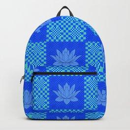 Retro Blue Lotus Checkerboard Backpack