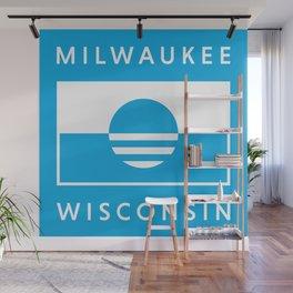 Milwaukee Wisconsin - Cyan - People's Flag of Milwaukee Wall Mural