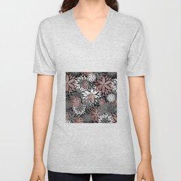 Pretty rose gold floral illustration pattern Unisex V-Neck
