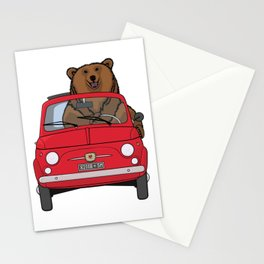 A bear driving a red vintage car Stationery Cards