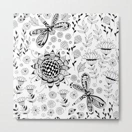Dragonflies and flowers Metal Print