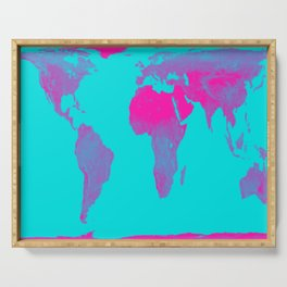 World Map : Gall Peters Turquoise & Pink Serving Tray