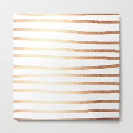 Simply Drawn Stripes Deep Bronze Amber Metal Print