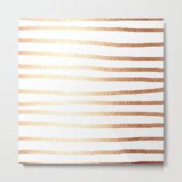 Simply Drawn Stripes Deep Bronze Amber Metal Print