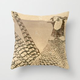 Ring-necked Pheasant At Prairie Sunset Throw Pillow