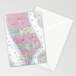 Vintage Map of Lower Manhattan (1865) Stationery Cards