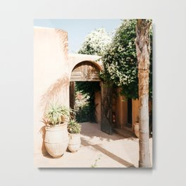 Morocco - design - decoration - arabic - africa - door - plants - green - print - art - travel Metal Print