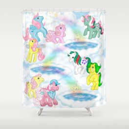 g1 my little pony collection collage Shower Curtain