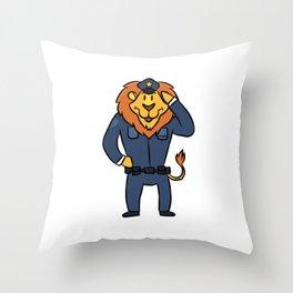 Police security lion cartoon children gift Throw Pillow